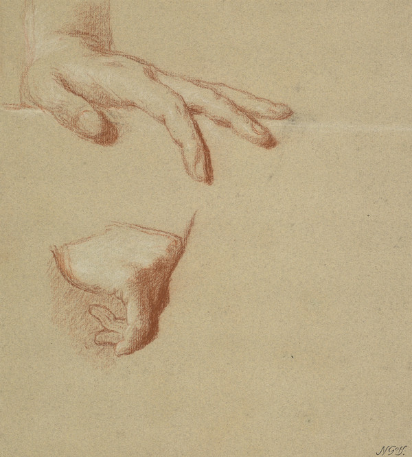 A Man's Left and Right Hands. Study for the Painting of George III in Coronation Robes (About 1761)