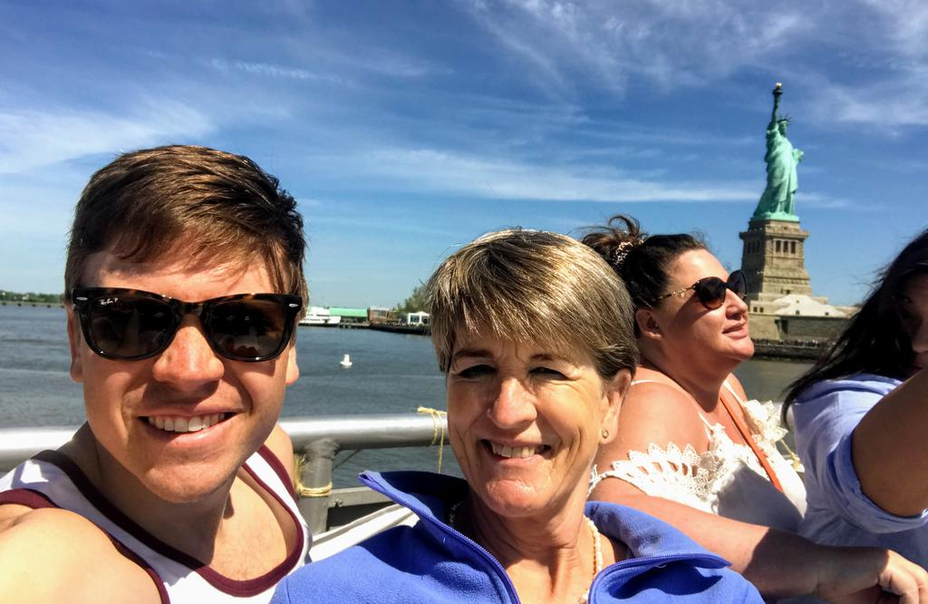 Mum and me enjoying the boat tour - and me catching a bit too much sun