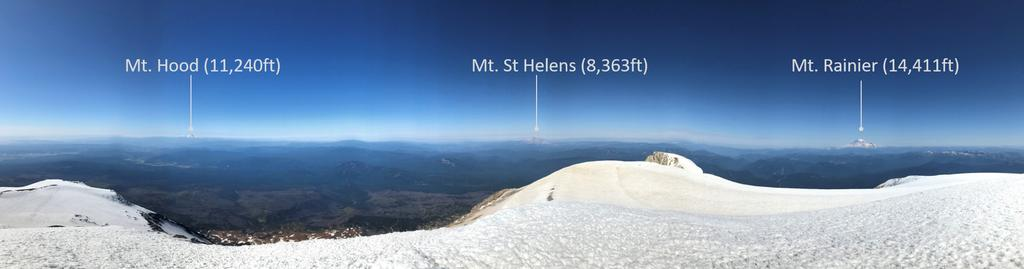 Panoramic views from the summit with Rainier, St Helens and Hood clearly visible