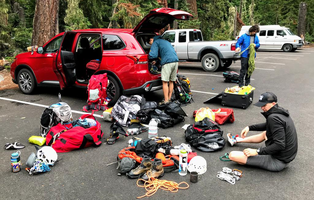 We arrived at the campsite in Mount Rainier National Park with the car popping at the seams with gear