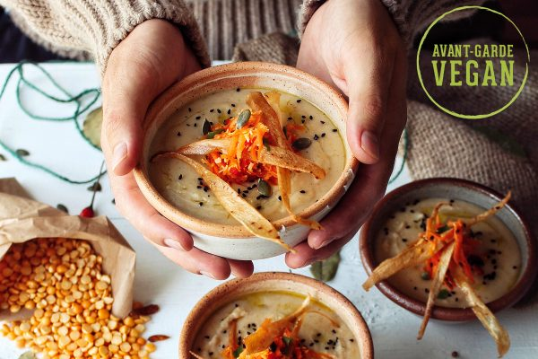 Parsnip Lentil and Coconut Dhal with Carrot Salad and Crispy Parsnip