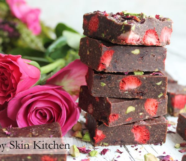 Strawberry and Pistachio Raw Chocolate Brownies