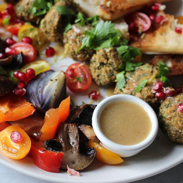 Kale & Lemon Falafel with Roasted Veggies, Tahini Sauce & Grilled Ciabatta