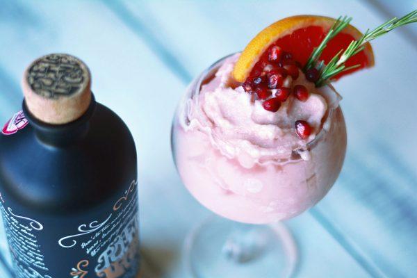 No Churn Pink Grapefruit, Pomegranate, and Rosemary Gin Sorbet