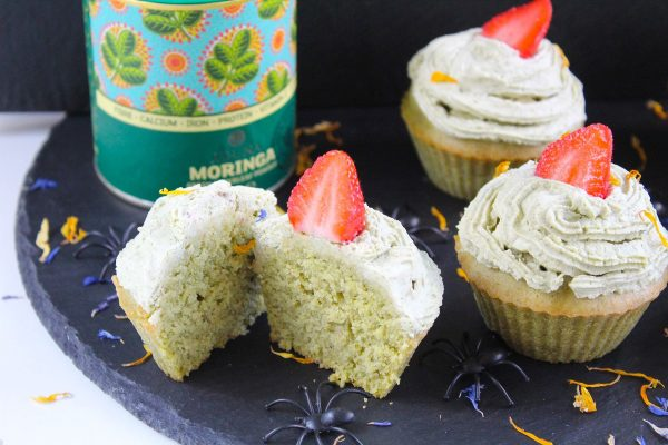 Moringa Cupcakes with a Tangy Green Frosting
