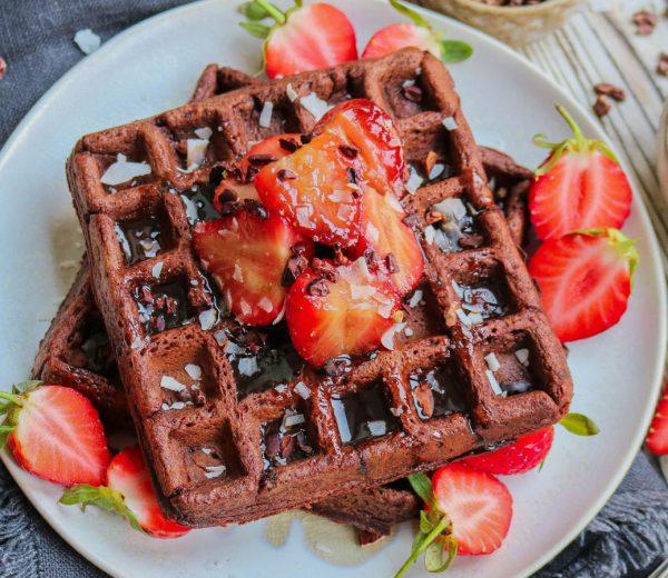 Chocolate Waffles with Caramelised Strawberry
