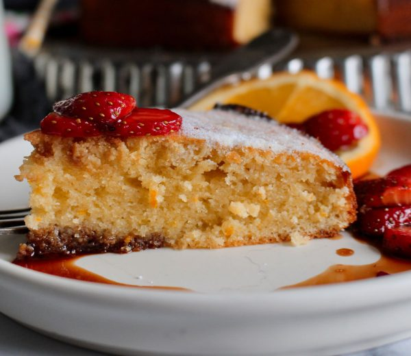 Olive Oil & Orange Cake Served With Balsamic Strawberries