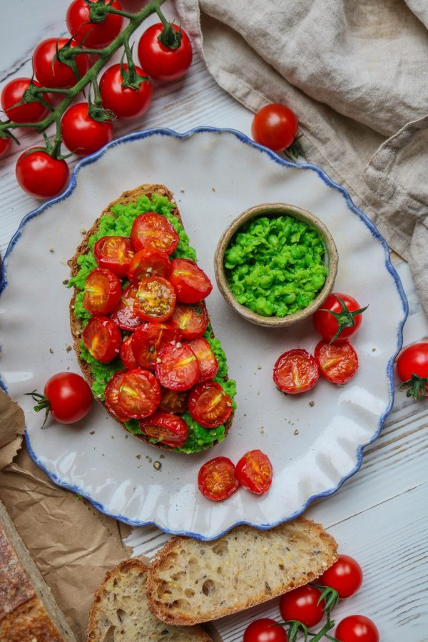 Peas & Mint Toast with Slow Roasted tomatoes