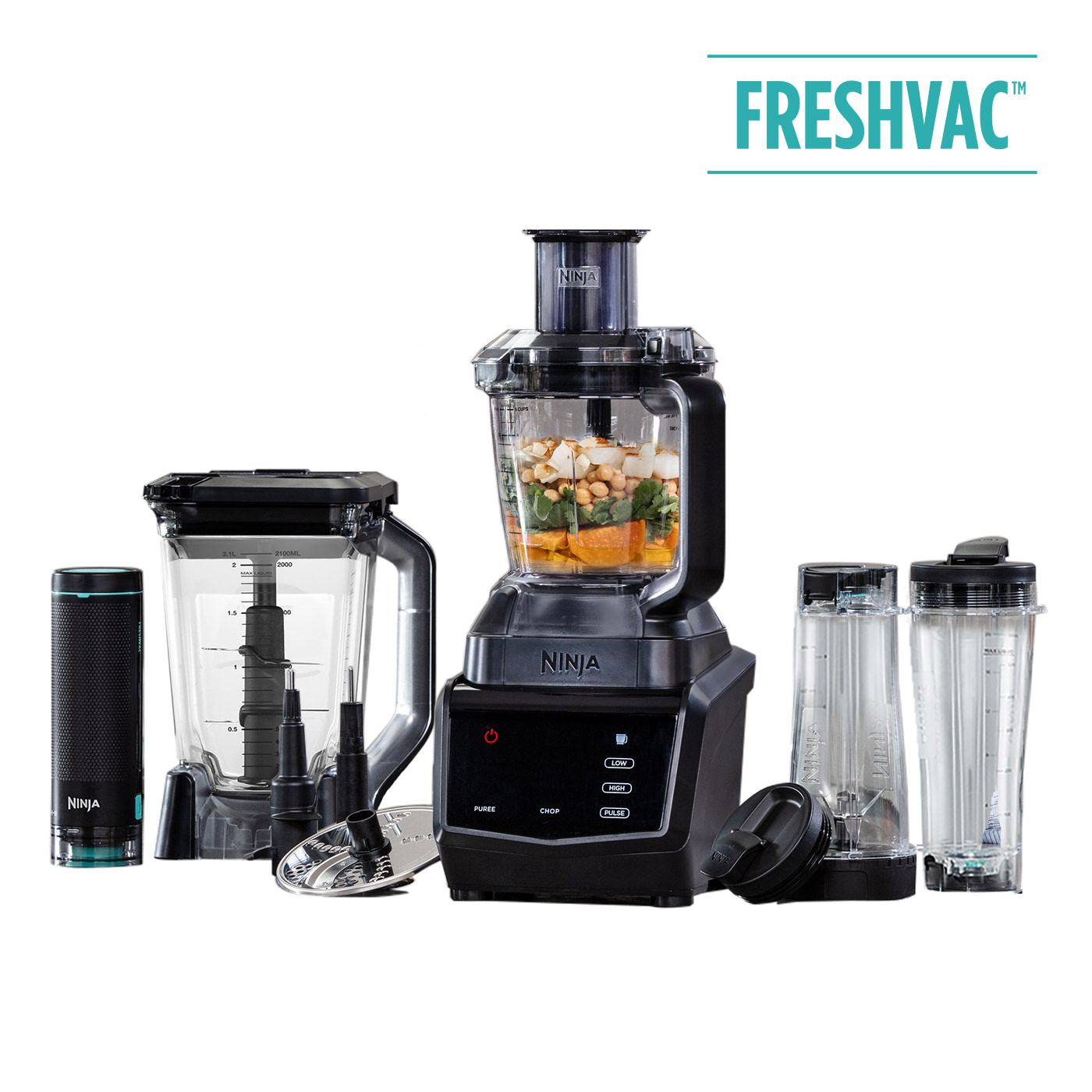 Ninja 1100W Food Processor, Blender & Smoothie Maker with FreshVac Technology CT670UKV