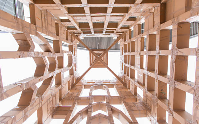 Photo from NNF14 show The Peoples Tower, inside a huge cardboard replica of St Peter Mancroft Church.
