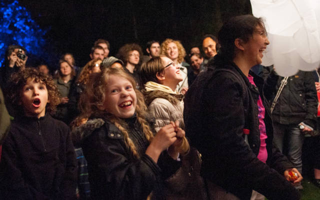 Photo from NNF13 show Reve dHerbert, a crowd of people watch something out of shot.