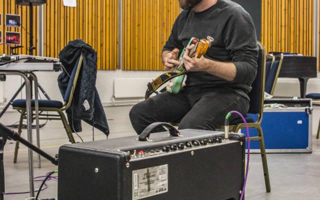 Matt Calvert in rehearsals for the new soundtrack for Battleship Potemkin, Opera North, September 2017