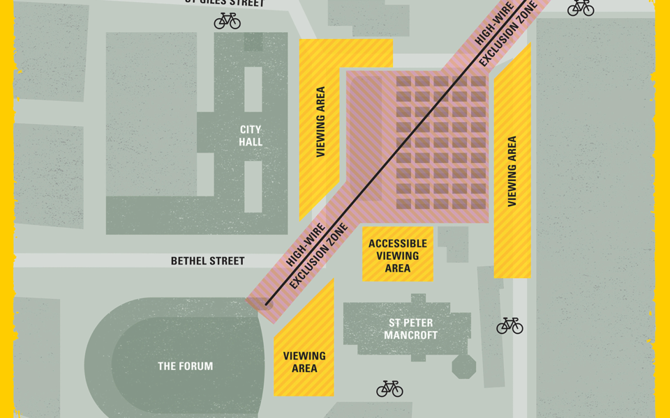 A map of the Market, Forum & City Hall indicating viewing areas for the Norfolk & Norwich Festival 2019 launch.