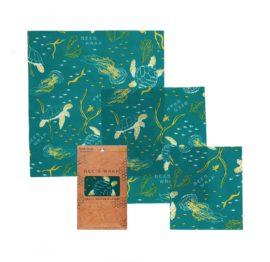 3Pk*s,m,l*ocean Print Bee's Wrap - Bivoksark