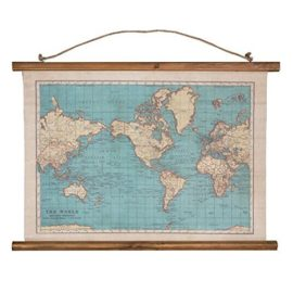 World Map Canvas Vintage Map