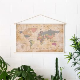 Wooden Cotton Map Old School
