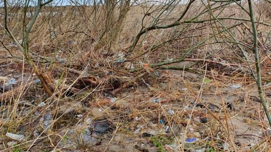 Afval langs rivieroever