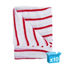 Dishcloths, Stockinette, Large, (Red Stripe) 10 Cloths
