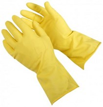 Gloves, Rubber, Premier, Yellow, Med, 12 Pairs