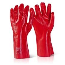 "Gloves, Red PVC Gauntlet, 35cm (14""), Pair"