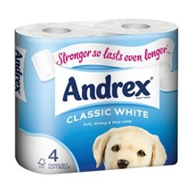Toilet Rolls, Andrex, Classic White, 2Ply, 6 x 4 Rolls
