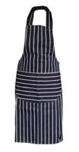 Catering Wear, Butchers Apron, Navy & White Stripe