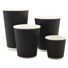 Cups, Paper, Hot, Black Ripple, 12oz/340ml, 500