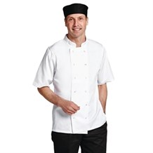 Catering Wear, Chefs Jacket, Boston, S/Sleeve, White, Medium