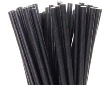 Paper Straws, Black, 21cm, 6mm Bore, 250