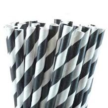 Paper straws, Black Stripe, 21cm, 6mm Bore, 250
