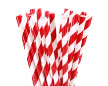 Paper straws, Red Stripe, 21cm, 6mm Bore, 250