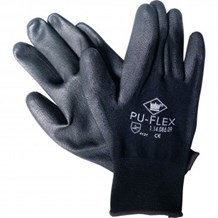 Gloves, Polyester, PU Flex, PU Coated, Black, 12 Pairs