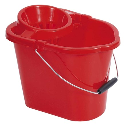 Bucket, Mop, Plastic, Value, 12Ltr, Red
