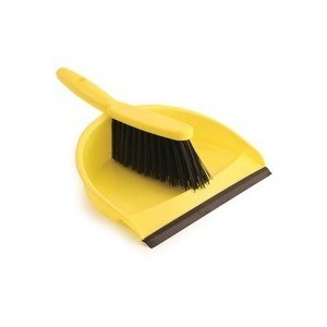 Dust Pan & Brush Set, Soft, Yellow