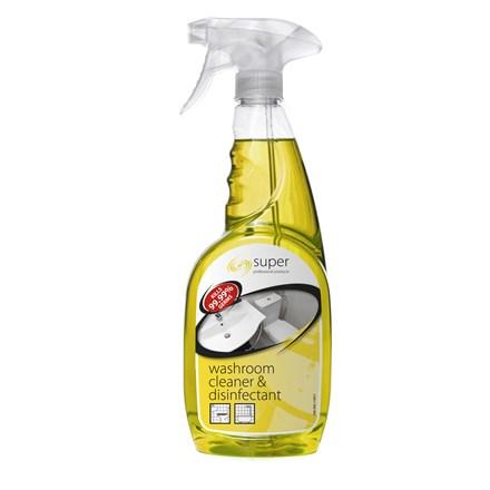 Washroom Cleaner/Disinfectant, Super, T/Spray, 6x750ml