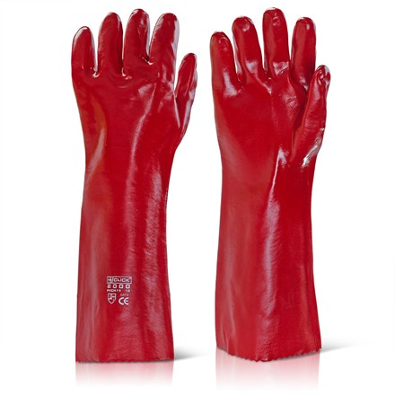 "Gloves, Vychem Gauntlet, Red, 18"", Pair"