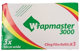 "Catering, Cling Film, WrapMaster, 300mm x 300m (12"") 3 Rolls"