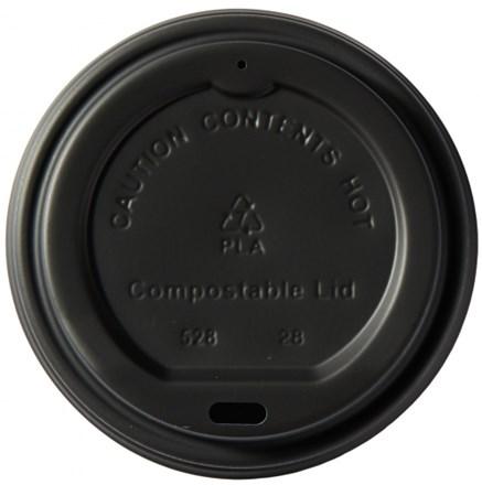 Cups, Lids, Sip Slit, Domed, Black, 12-16oz, 1000