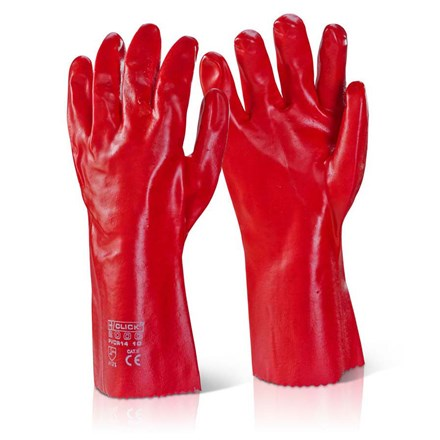"Gloves, Red PVC Gauntlet, 35cm (14""), Pair"