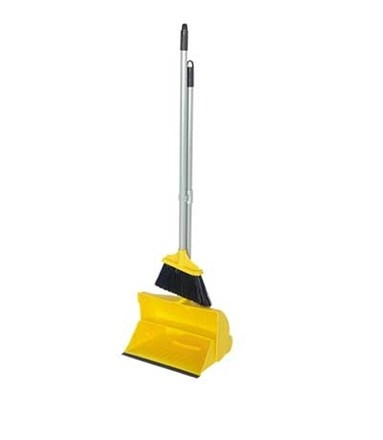 "Lobby Pan, 10"", L/Weight, Dust Pan & Brush Set, Yellow"