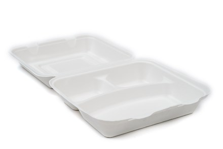 Catering, Tray, Bagasse, 3 Comp Meal Box, 235x230x75mm, 200