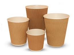 Cups, Paper, Hot, Kraft Ripple, 12oz/340ml., 500