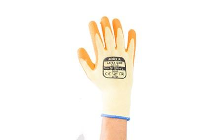 Gloves, PolyCotton, Rubberised Latex Palm, Orange,12 Pairs Per Pack