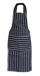 Catering Wear, Butchers Apron, Navy & White Stripe