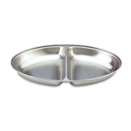 """Catering, Vegetable Dish, Oval/ 2 Div, S/S, 25.4cm/10"""""""