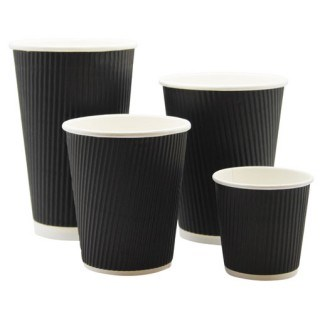 Cups, Paper, Hot, Black Ripple, 12oz/340ml, 500
