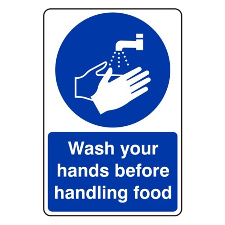 Sign - Wash Hands Before Handling Food. Self Adhesive