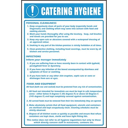 Sign - Catering Hygiene. Self Adhesive