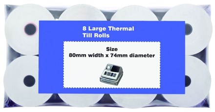 Till Rolls, Thermal, 80x74mm, 8 Rolls