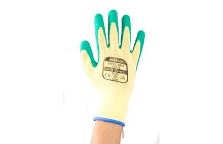 Gloves, Aurelia, PolyCotton, Crinkled Latex Palm, Green, 12 pairs